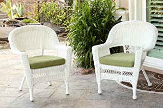 Jeco Wicker Chair with Green Cushion, Set of 2, White/W00206-