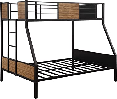 Merax Twin-Over-Full Bunk Bed Modern Style Steel Bed Frame Bunk Bed with Safety Rail, Built-in Ladder for Bedroom, Dorm, Home,Boys, Girls, Adults .Brown