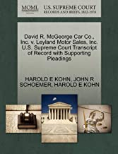 David R. McGeorge Car Co., Inc. v. Leyland Motor Sales, Inc. U.S. Supreme Court Transcript of Record with Supporting Pleadings