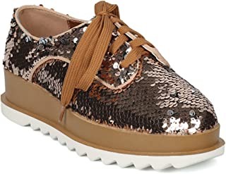 55e3eec2f78a Women Reversible Sequin Lace Up Platform Oxford HF58