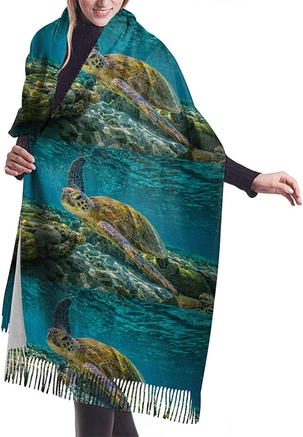 Sea Turtle Cashmere Feel Scarf Lightweight Soft Scarfs For Boys Girls Creative Warm Cold Weather Blanket Scarf