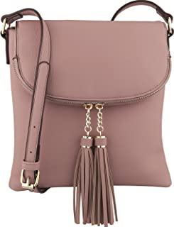 B BRENTANO Vegan Medium Flap-Over Crossbody Handbag with Tassel Accents