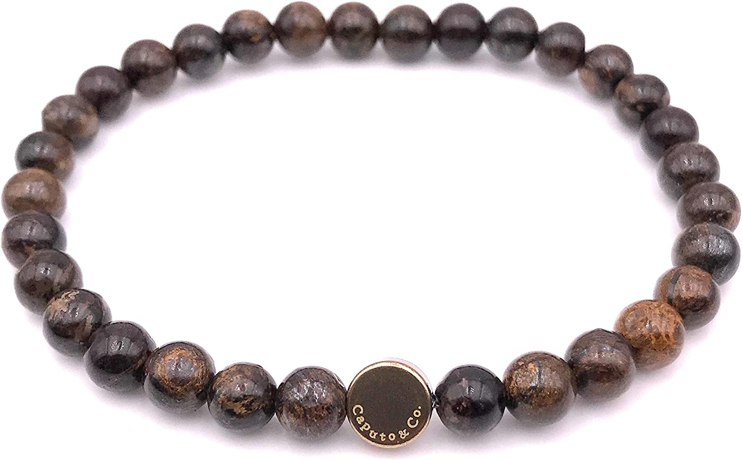Men's Stone Stretch Bead Bracelet - in Brown Handcrafted USA 2021new online shop shipping free