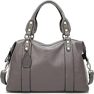 Spacious Women Fashion Barrel Bag Pebbled PU Leather Handbag Roomy Shoulder Satchel