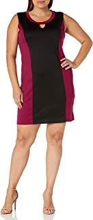 فستان نسائي Star Vixen مقاس إضافي بدون أكمام Ponte Stretch Knit Miracle V-Inset Colorblock قصير ضيق