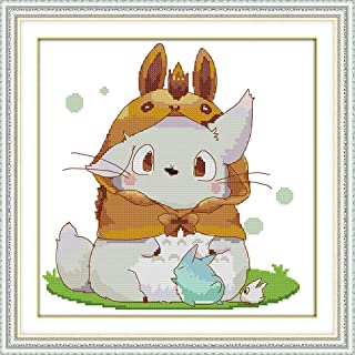 Zamtac Lovely Totoro Cross Stitch kit 18ct 14ct 11ct Count Printed Canvas Stitching Embroidery DIY Handmade Needlework - (Cross Stitch Fabric CT Number: 14ct unprint Canvas)