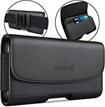 Galaxy S6, S6 Edge S 7 S7 S8 Belt Clip Case, Bomea Black Leather Case with Clip Holster Carrying Pouch for Galaxy S8 S6 S7 S 6 Edge with Otterbox Lifeproof Battery Case On, Wallet/ID Card Holder