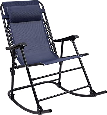 Furniwell Patio Rocking Zero Gravity Chair Outdoor Wide Recliner Portable Lounge Chair Folding with Headrest for Camping Fish