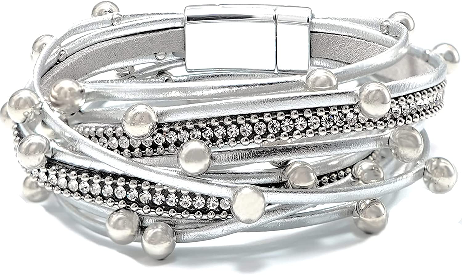Chamqueen Multilayer Leather Bracelet Magnetic Buckle Wrap Bangle for Women