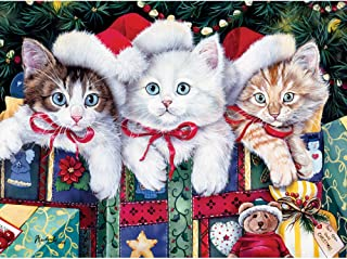 Bits and Pieces - 1000 Piece Jigsaw Puzzle - Meowy Christmas - 1000 pc Cat, Kitten, Holiday, Winter Jigsaw by Artist Jenny Newland