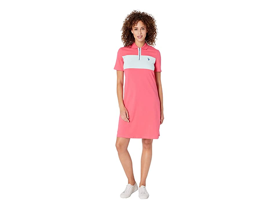 U.S. POLO ASSN. Chest Zip Pleated Dress (Shangri La Rose) Women