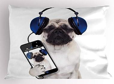 TYANG Pug Pillow Sham, Dog Listening Music on The Smartphone Groovy Cool Headphones Animal Funny Image, Decorative Standard Q