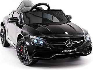Moderno Kids Mercedes C63S 12V Power Children Ride-On Car with R/C Parental Remote + EVA Foam Rubber Wheels + Leather Seat + MP3 USB Music Player + LED Lights (Black)