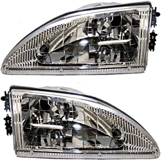 Driver and Passenger Headlights Headlamps with Smooth Lens Replacement for Ford F4ZZ 13008 D F4ZZ 13008 C