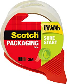 Scotch Sure Start Shipping Tape with Dispenser, 1.88 in. x 38.2 yd., Clear, 1 Dispenser/Pack