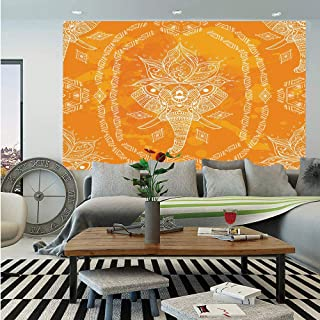 SoSung Elephant Mandala Huge Photo Wall Mural,Mehndi Design Sketchy Animal Head with Floral Geometric Frame Print,Self-Adhesive Large Wallpaper for Home Decor 108x152 inches,Orange and White