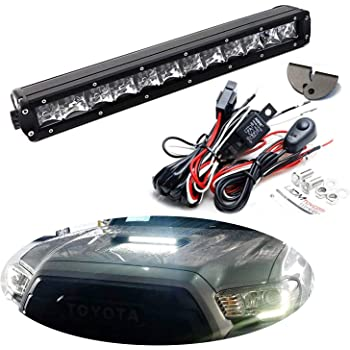 iJDMTOY 35-966 Scoop Light Bar Compatible with 2016-up Toyota Tacoma, Includes (1) 60W High Power LED Lightbar, Hood Bulge Mounting Brackets & On/Off Switch Wiring Kit
