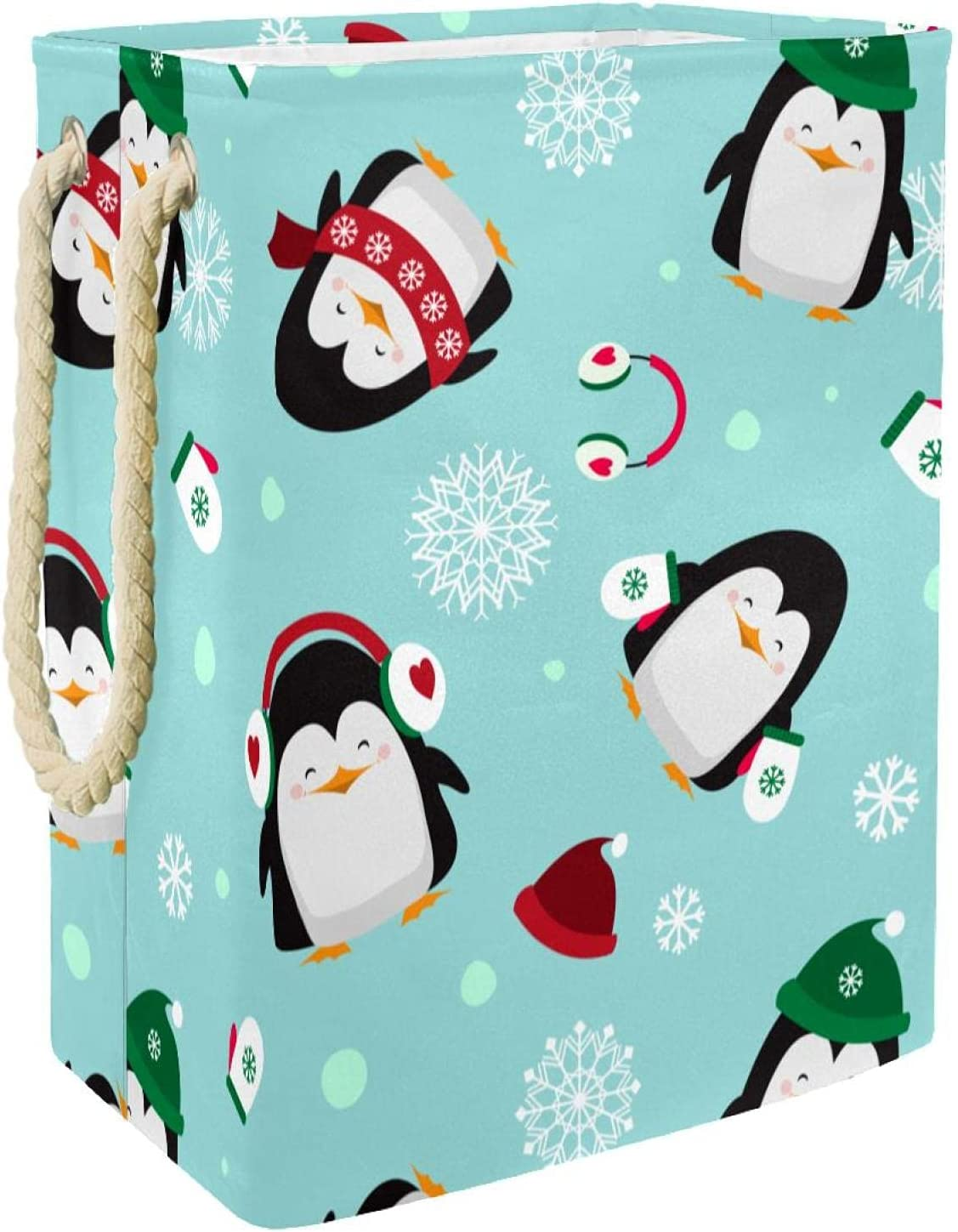 MAPOLO Seasonal Wrap Introduction Laundry Hamper Christmas Penguins Linen Large special price !! Foldable Pattern