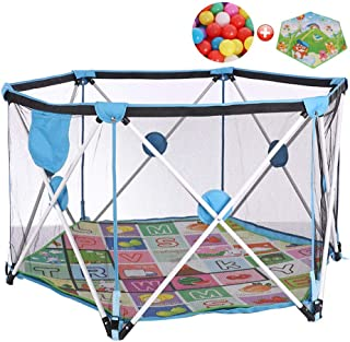 Infant Activity Park Baby Carrier Pop-n-Play Activity Center for Kids  Indoor and Outdoor  with Play Mat and 100 Balls  140  Sky Blue Hex