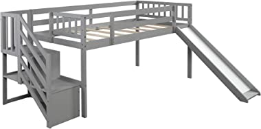 SOFTSEA Kids Wood Twin Low Loft Bed with Slide, Multifunctional Design, Two Step Staircase Storages (Grey)