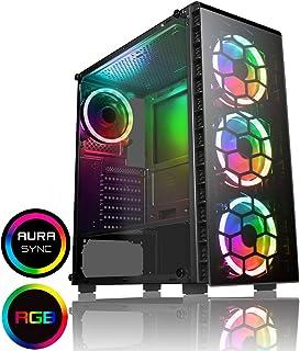 CiT Raider Funda de Juego 4 x Espectro de Halo Ventiladores RGB Vidrio Frontal y Lateral MB Sync