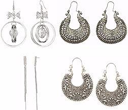Efulgenz Indian Bollywood Combo of Fancy Party Wear Stud Earrings and Dangler Earring for Girls & Women
