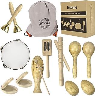 Ehome Toddler آلات موسیقی ، وسایل کوبه ای چوب طبیعی اسباب بازی برای کودکان پیش دبستانی آموزشی ، مجموعه اسباب بازی های موسیقی برای پسران و دختران با کیسه ذخیره سازی