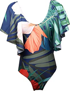 Womens Vogue Falbala Floral Printed Monokini Cover Belly One Piece Swimsuits