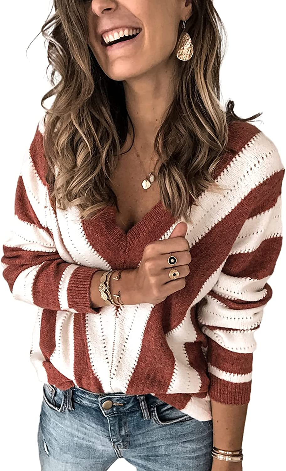 HOTAPEI Womens Long Sleeve Deep V Neck Sweater Hand Striped Outlet sale feature Knit Max 45% OFF