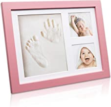 Trees&Forrest Baby Handprint and Footprint Kit Keepsake Frame with Non Toxic Clay Babies Shower Gifts for Newborn Pink