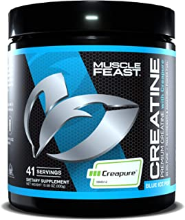 MUSCLE FEAST Creapure Creatine Monohydrate Powder, Premium Pre-Workout or Post-Workout, Easy to Mix, Gluten-Free, Safe and...