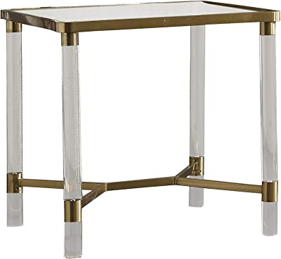 Benjara Rectangular Glass and Metal End Table with Acrylic Legs, Gold and Clear