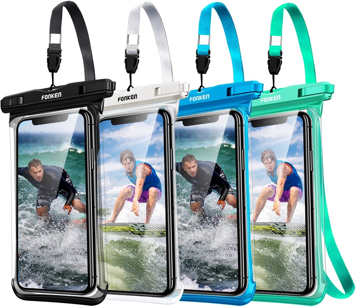 Waterproof Phone Pouch,FONKEN Waterproof Phone Case IPX8 Cell Phone Dry Bag (4 Pack) Underwater Phone Pouches Compatible with iPhone 12 Pro Max 11 XS Max XR 8 7 Galaxy s20 s10/Note 9 Up to 7.0