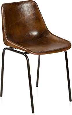 Boho Traders Aged Dining Chair Aged Leather Dining Chair, AgedBrownLeather