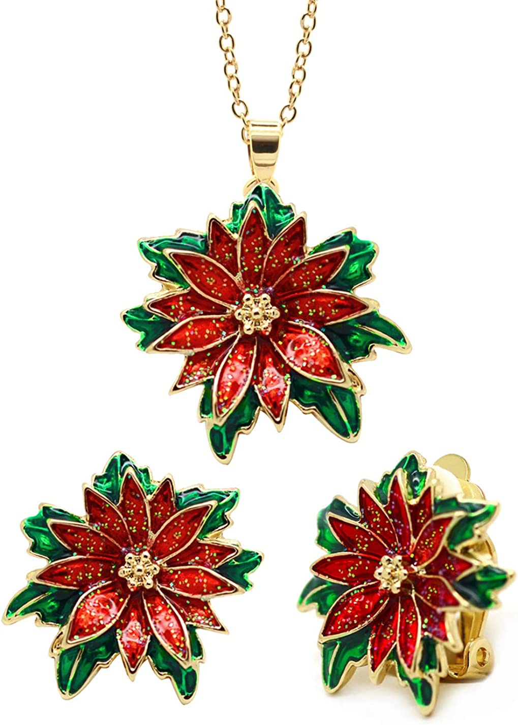 Sparkly Bride Christmas Jewelry Set Red Poinsettia Women Fashion Pendant Necklace Clip on Earrings Gold Plated, 16+2in