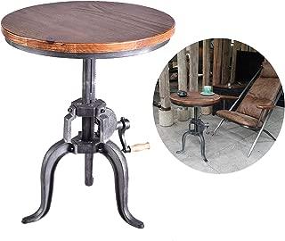 Topower American Antique Industrial DIY Crank Desk Cast Iron Three-Legged Solid Wood Cafe Coffee Bar Table (Silver)