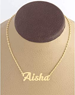 21K Gold Plated Necklace With Name Aisha