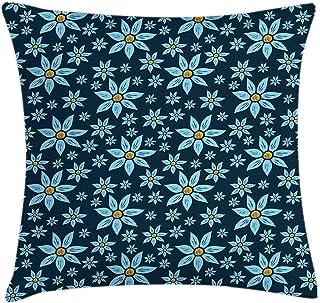 4 Piezas 18X18 Pulgadas Funda De Cojín De Almohada De Tiro Floral,Extensión De Tema Rural De Flores De Verano En Vibraciones Azules,Funda De Almohada Decorativa Cuadrada para Decoración del Hogar