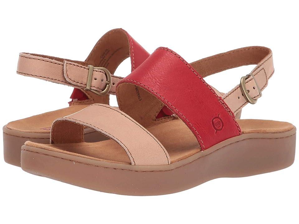 Born Oconee (Taupe/Red Full Grain Leather Combo) Women