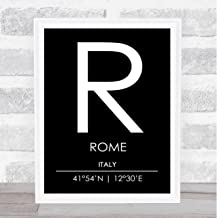 Rome Italy Coordinates Black & White World City Travel Quote Poster Print