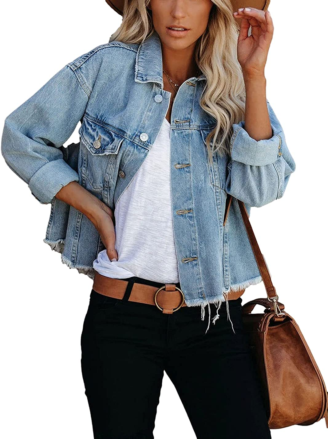 Laobee Women's Denim Jacket Classic Ripped Long Sleeve Button Down Jean Jacket with Pockets