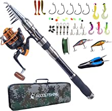 AGOOL Telescopic Fishing Rod and Reel Combo, Carbon Fiber Telescopic Spinning Portable Fishing Pole Fishing Gear with Line Lure Reel Hooks Fishing Bag for Sea Saltwater Freshwater Boat Fishing