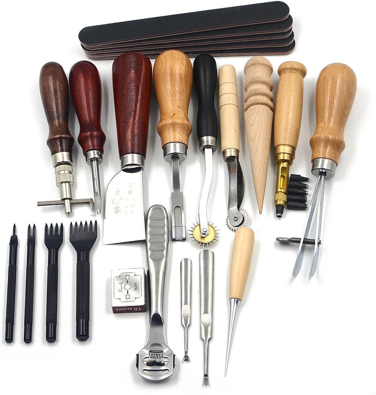 Egurs 18 Teile Satz Leder Handwerk Nähwerkzeuge Set Nähen Schnitzen Arbeiten Nähen Sattel Groover Lederhandwerk DIY Werkzeug B07NYDG6GZ   | Zu verkaufen