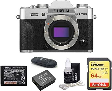 $899 Get FUJIFILM X-T30 Mirrorless Digital Camera Body (Silver) Bundle, Includes: SanDisk 64GB Extreme SDXC Memory Card, Card Reader, Memory Card Wallet and Lens Cleaning Kit