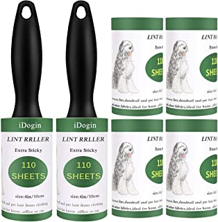 iDogin Pet Hair Roller Lint Remover Extra Sticky Lint Rollers 660 Sheets Total for Clothes, Furniture, Dog Cat Hair Removal (Supersize 110 Sheets/Roller 2 Rollers 4 Refills)