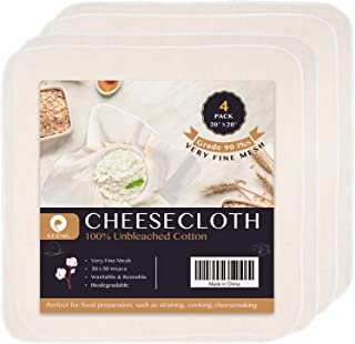 Precut Cheesecloth, 20 x 20'' 4 Pack, Weave 50 x 50, Ultra Fine Cheesecloth for Straining & Cooking, 100% Combed Unbleache...