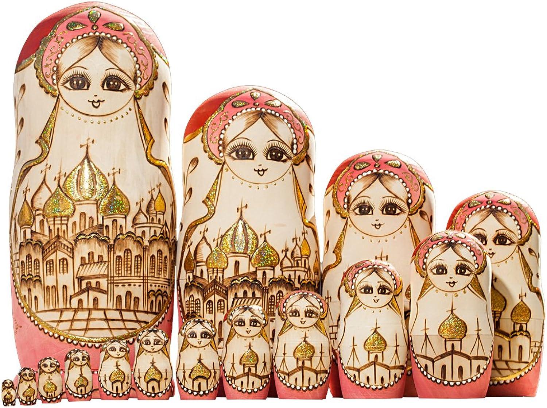 YAKELUS professionelle Matrjoschka-Marke 15 Stücken Matroschka, Matruschka, Matrjoschka,Russian Nesting Dolls,15-tlg handgemacht Das Lindenholz Geschenk Spielzeug 15096