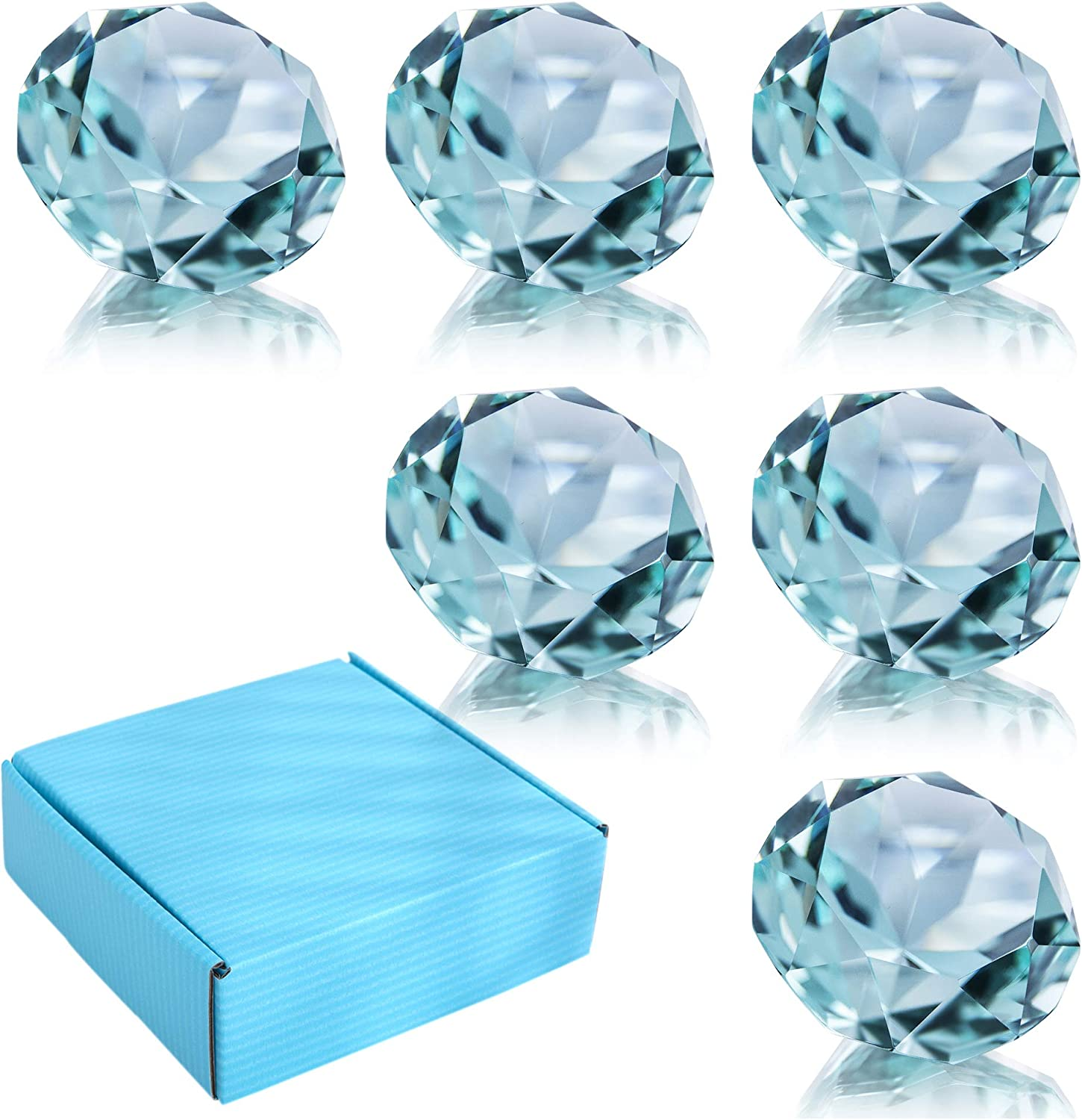 2in Wedding Table Decoration Pack of 6 Blue Crystal Diamond Glass Jewels Home Decor Glass Paperweight 50mm