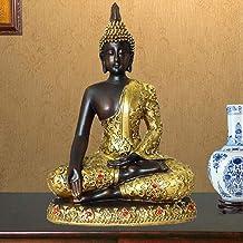 Sakyamuni Resin Statue Meditation Peace Harmony Statue Religious Decoration Southeast Asian Style Crafts 14.5×8.5×20cm CQQO