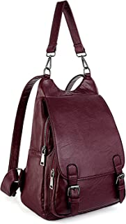UTO Women Backpack Purse PU Washed Leather Large Capacity Security Ladies Rucksack Shoulder Bag